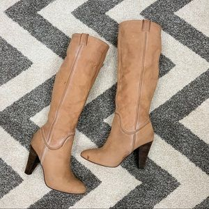 Joie Leather Heeled Boots Cream Tan
